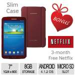 1024x600 Resolution, 1.2GHz Dual-Core, 8GB Storage, Android 4.1.2, MicroSD Up to 64GB, 3 Month Free of Netflix, Includes Garnet Red Book Cover Bundle,SM-T210RGRSXAR